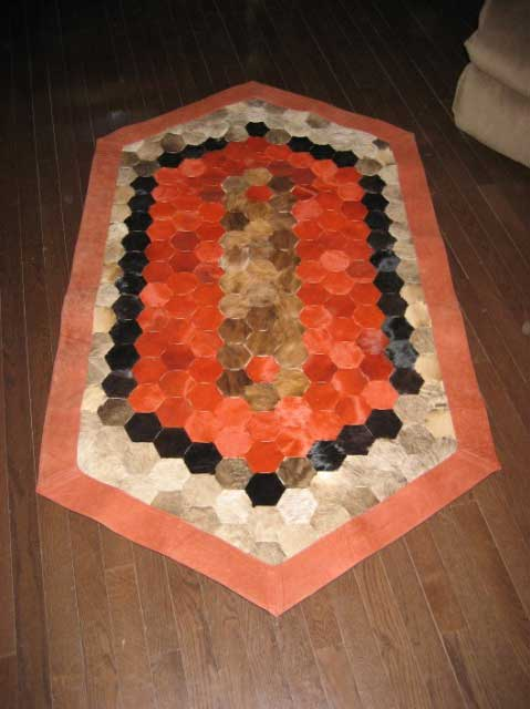 Linked Leather Throw Rug