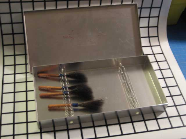 Pin Stripe Brush Box Open